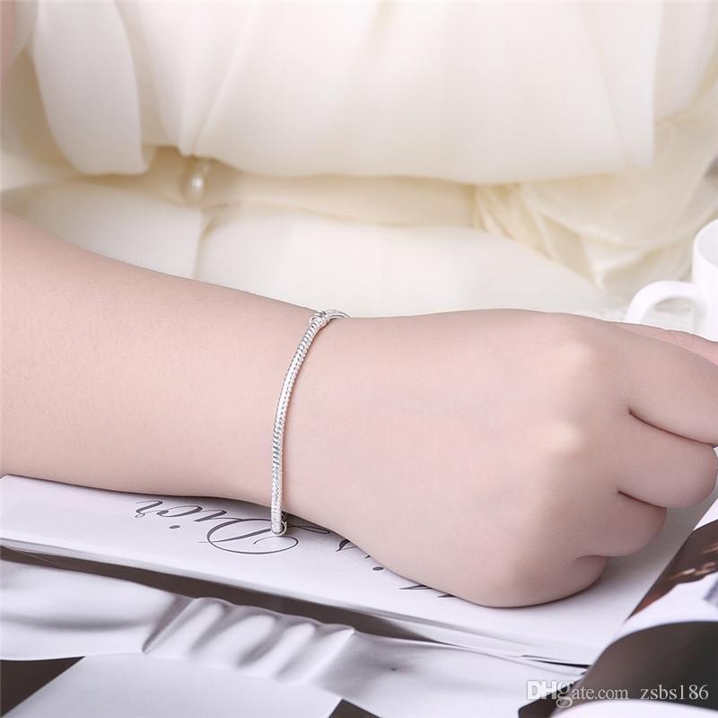 2016 핫 925 스털링 실버 체인 팔찌 자석 걸쇠 간단한 야생 중성 스타일의 패션 쥬얼리 무료 배송 /