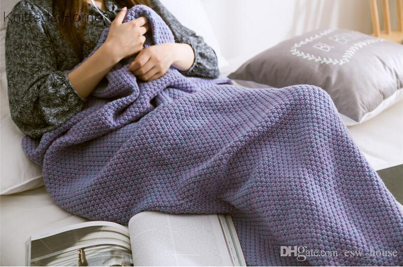 180x80 cm Yetişkin Moda Örme Mermaid Kuyruk Battaniye Süper Yumuşak Isıtıcı Battaniye Yatak Uyku Kostüm Hava durumu Örgü Battaniye 7 renkler