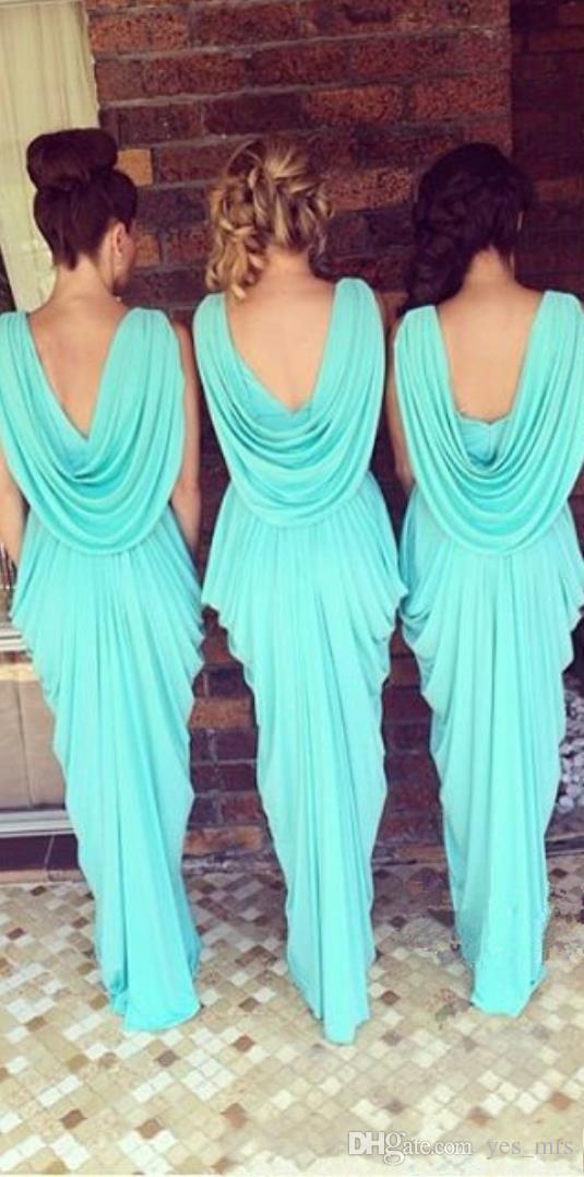 Desgaste 2020 baratos da dama de honra Vestidos V Neck Convidado de Casamento Teal Turquoise Chiffon Open Back Sash até o chão Ruched partido dama de honra Vestidos