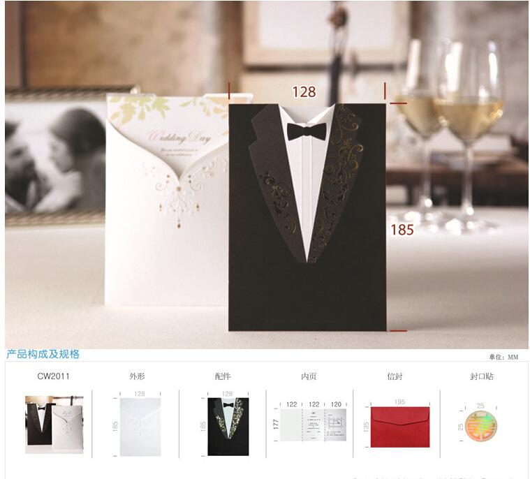 100psc Laser Cut Wedding Invitations Creative Elegant Vintage – Black and White Invitation Cards