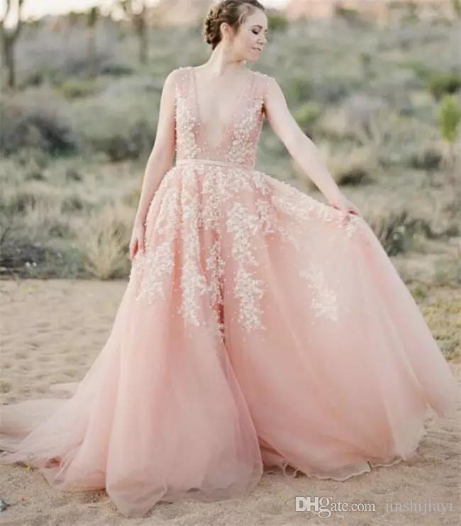 Compre 2016 Vintage Se Ruborizan Los Vestidos De Boda Del Cordón ...