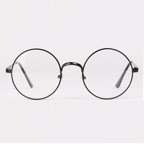 Womens Mens Retro Round Metal Frame Clear Lens Glasses Nerd ...