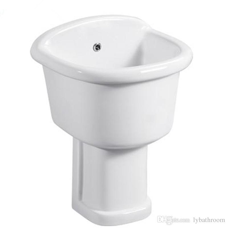 White Mop Bucket Rectangle Ceramics Mop Sinks Glazed Column Bathroom Sinks  Balcony Wash Basin 460mm X 400mm X 655mm Mop Bucket Wash Basin Bathroom  Sinks ...