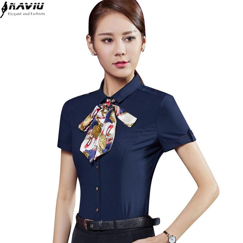 92fb4559a2ac8 2019 2017 Summer Elegant Chiffon Shirt Female Formal Slim White Navy Blue  Short Sleeve Blouse Office Women Plus Size Work Wear Tops From  Erindolly360b