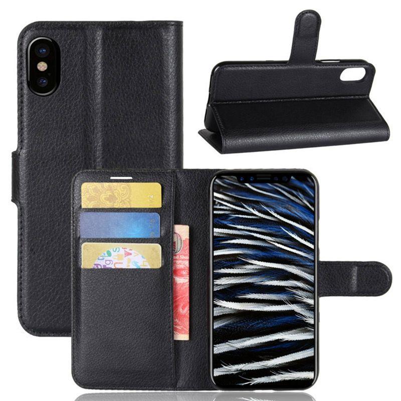 Caso di vibrazione della fessura la cassa del telefono del cuoio del raccoglitore sinistro e destro di iphone X aperto il iphone X.