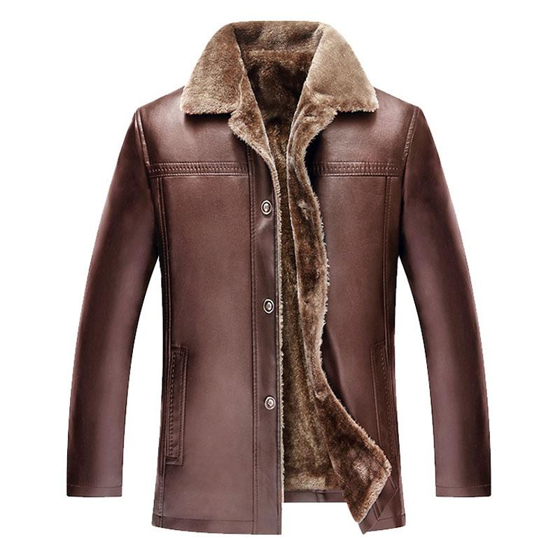 New Faux Fur Men leather jackets 2017 Winter Thick Warm Motorcycle Business Casual Mens Leather Jackets coats Male Plus Size 6XL