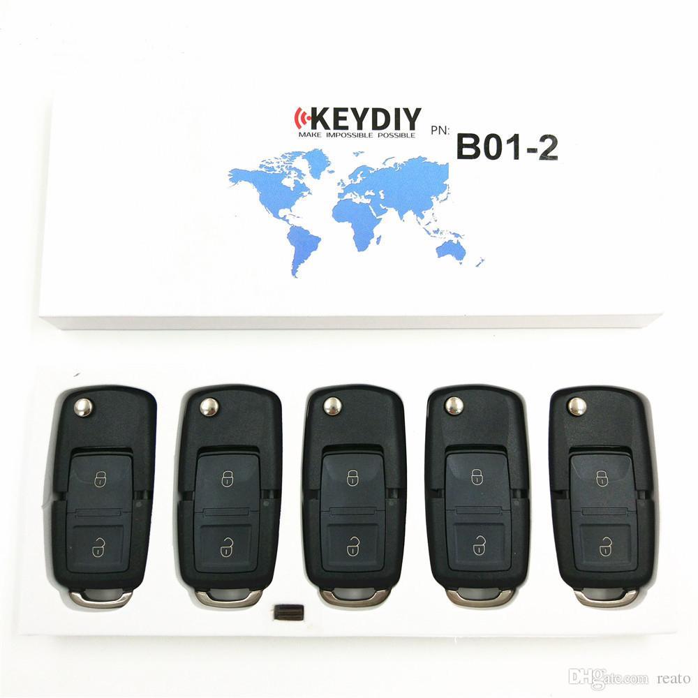 D'origine KEYDIY B01-2 B Série Pour VW Style Télécommande Universelle 2 Bouton Clé Noir B02 pour KD900 URG200 Clé Programmeur livraison gratuite