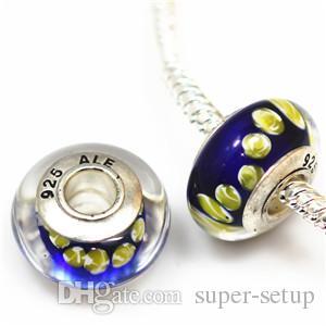 DIY acessórios de jóias 925 ALE de prata banhado a miçangas núcleo de murano contas de vidro grande buraco Encantos Bead Para Pulseiras ZHZP001