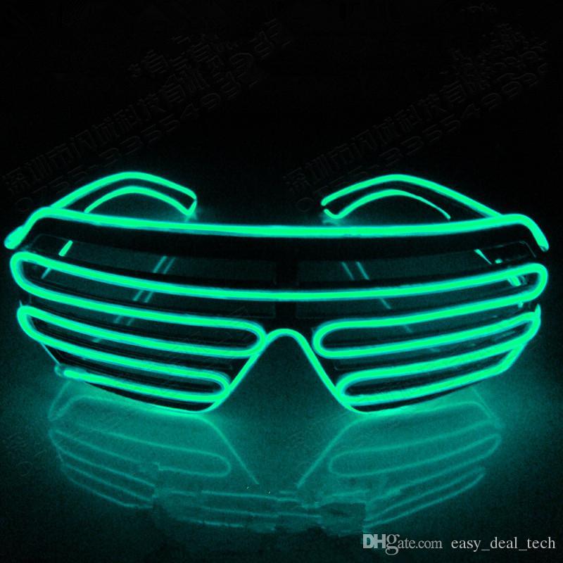 Flashing LED Light Up Shutter Fio EL Óculos Brilho Quadro Óculos De Sol Dance Party Halloween Iluminação Nightclub Q0064