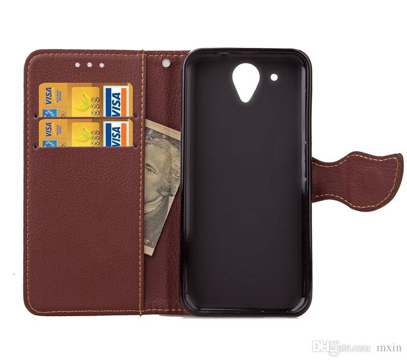 Leaf Wallet Flip PU Leather Case Stand Jelly TPU Cover Inner With Card Slots For HTC M7 M8 Mini M9 A9 Desire 520 610 626 816 820 Free Strap