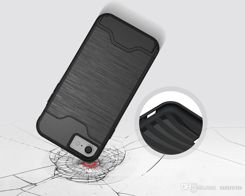 for Samsung J5 J7 2017 Cell Phone Cases with Slid Card Holder Mobile Back Cover Shell Protector Shockproof for Moto G5S LG G6
