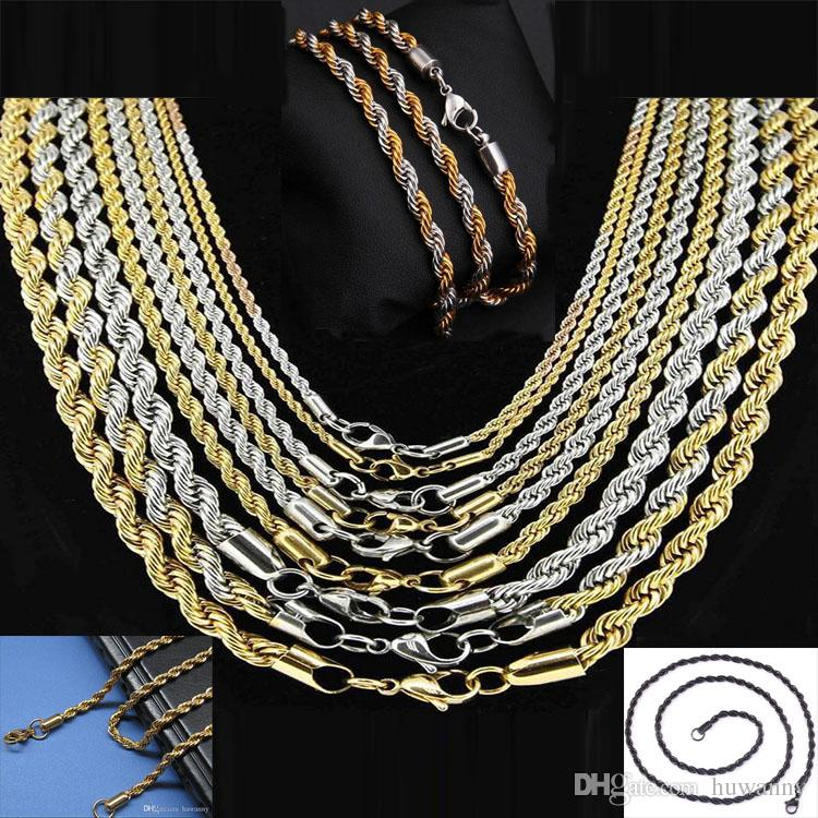 684f926902f50 3mm Gold Twist Chains Necklaces For Men Titanium Steel Rope Chain Necklace  20 22 24inch Jewelry wholesale Free Ship- 0011LDN