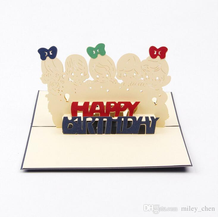 Creative 3d Pop Up Gift Happy Birthday Cards Friends Greeting Cards