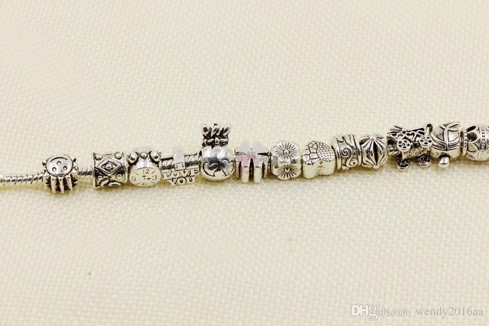 Comercio al por mayor 60 unids / lote Mezcla 16 estilos Gran agujero granos sueltos encanto Para Pandora Pulsera de la joyería DIY fit brazalete europeo