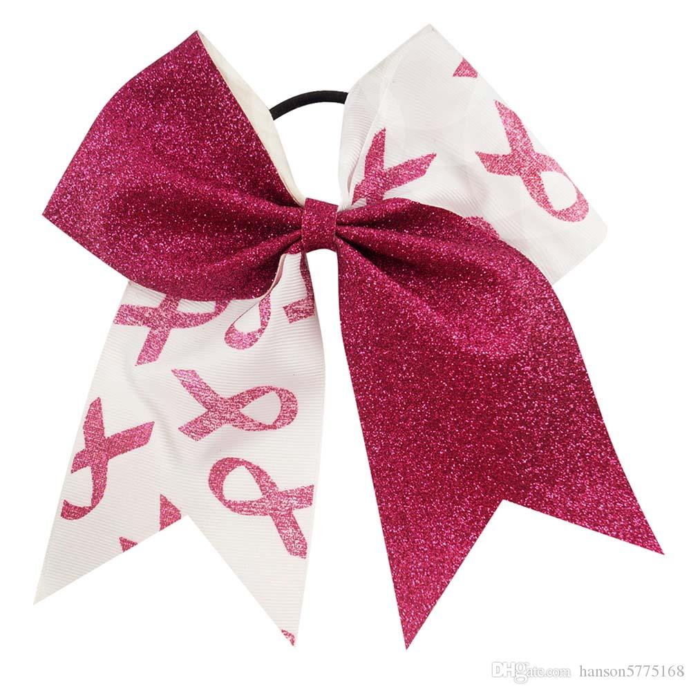 Elegant 7 inch Patchwork Cheer Bows Breast Cancer Awareness Half Glitter Half Grosgrain Ribbon Cheerleading Bow With Elastic Band