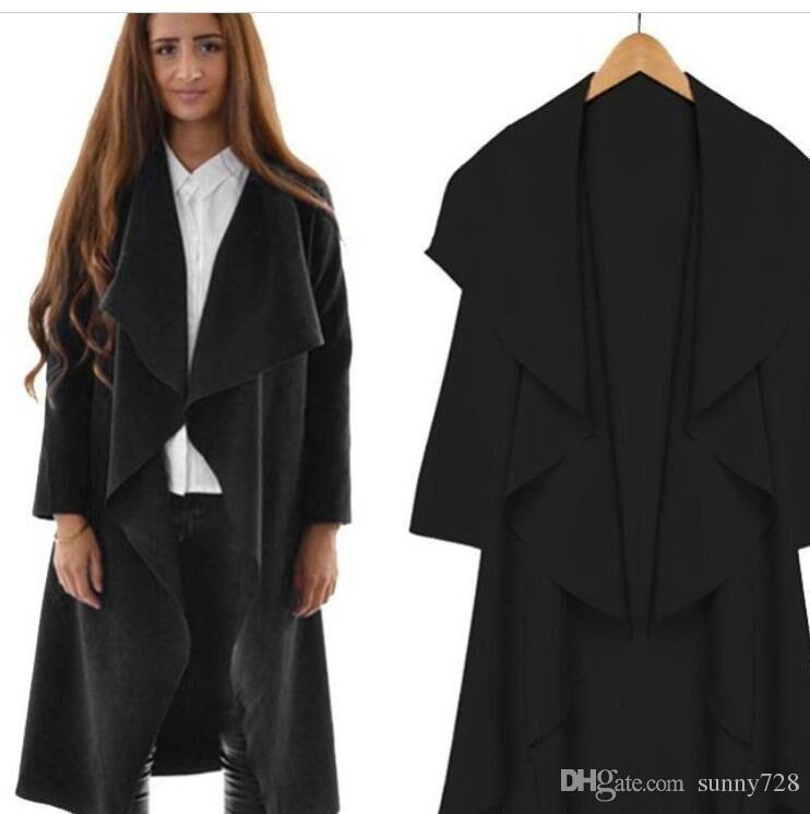 Hot Style Fashion Lange Frauen Mäntel 2016 Frühling und Herbst damenbekleidung Langarm Mäntel Rüschen Lange Knielangen Trenchcoats
