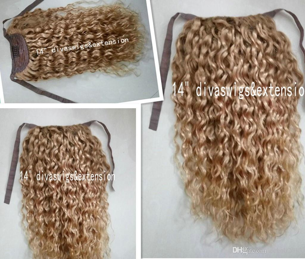 kinky curly blond human hair drawstring ponytail hairpiece clip in honey blonde african curly hair extensions 14inch 120g free ship