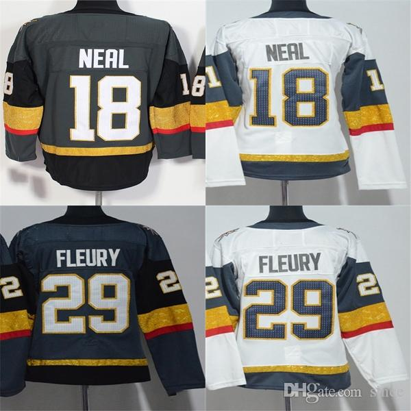 cheaper c3317 02438 Hot Sale 2017 Vegas Golden Knights 18 James Neal 29 Marc-Andre Fleury Grey  White Best Quality Cheap Full Embroidery Ice Hockey Jerseys
