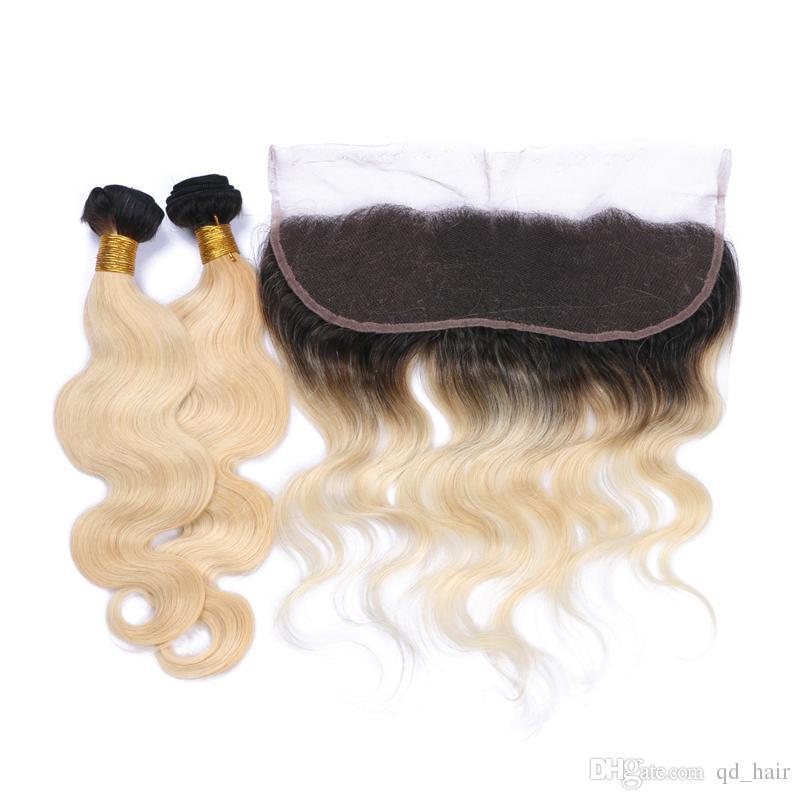 Ombre цвет волос пучки с кружевом фронтальный бразильский светлые волосы 1b / 613 уха до уха полный фронтальный кружева для молодой девушки