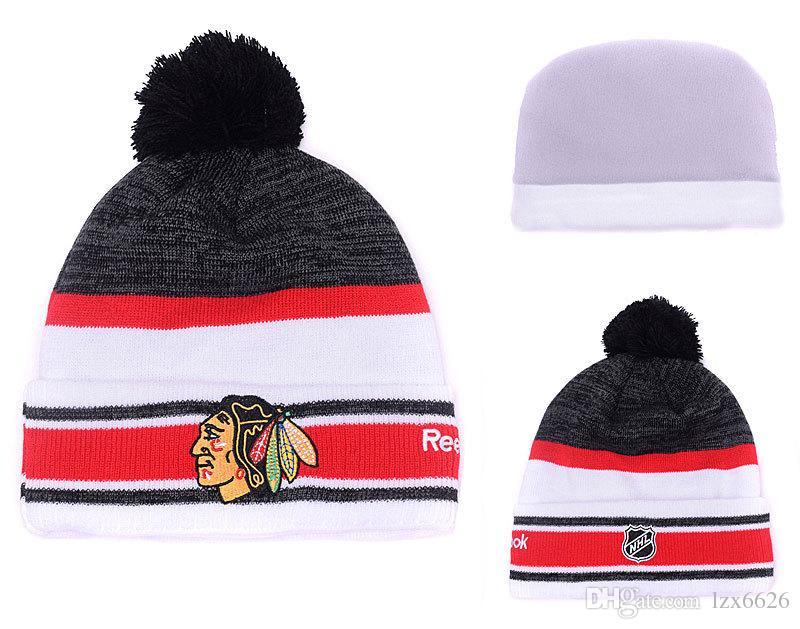 971f9310fde 2017 New Chicago Blackhawks Sport Ice Hockey Vintage Knitted Beanies ...