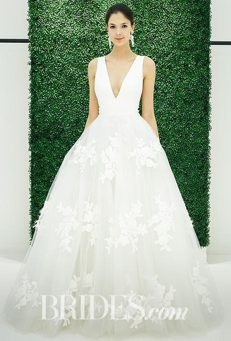 Discount 2017 Wedding Dresses Hayley Paige V Neck 3 D Florals Dress China Floor Length Gowns Sleeveless Bridal Shops