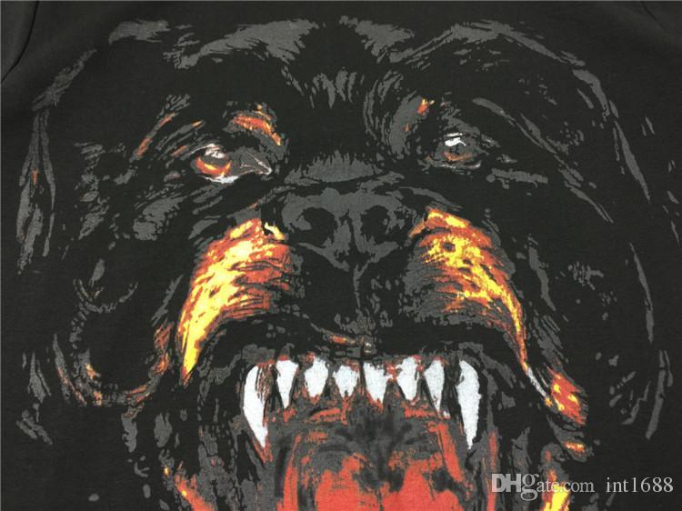 الصيف العلامة التجارية الجديدة للرجال الصيف أزياء تشيرتس الفاخرة Rottweiler الكلب طباعة القطن المحملات قمم قصيرة الأكمام السوداء