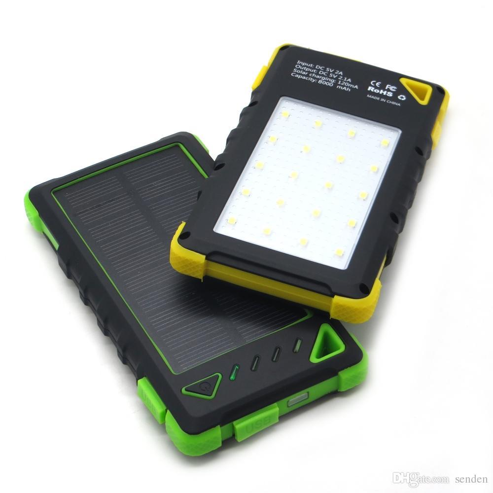 Fabrik wholelsae Wasserdichtes Solar-Ladegerät 8000mAh mit 20 LED-Leuchten, Super-Solarstrom-Ladegerät Ladegerät Dual USB Port für Handy / Tabletten