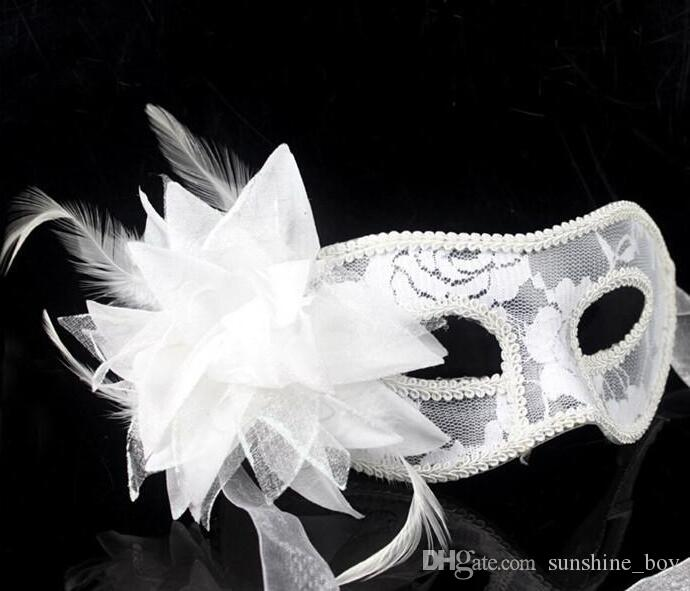 2017 hot sale sexy Black white red Women Feathered Venetian Masquerade Masks for a masked ball Lace Flower Masks 3colors