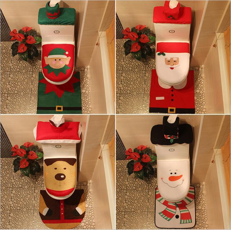 Discount Christmas Toilet Seat Covers Decorations Supplies Santa Claus Snowman Elk Elf Sets Checkered Three In One From China