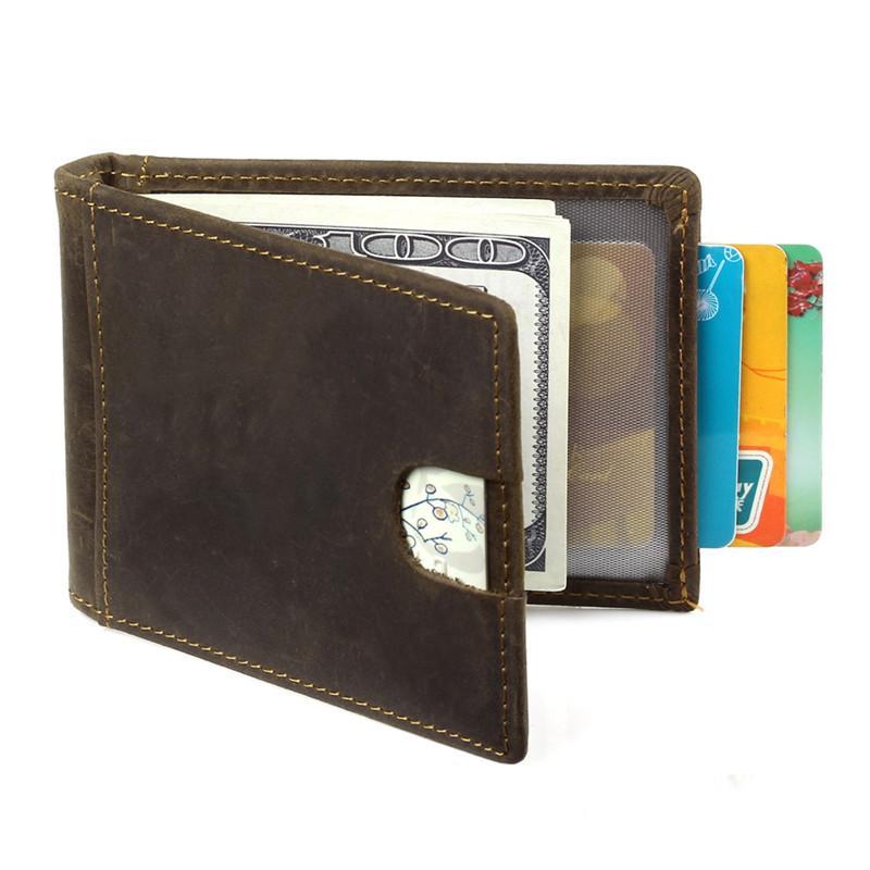 d6f114b436c Genuine Leather Men Money Clips Rfid Blocking Vintage Pocket Clamp ...