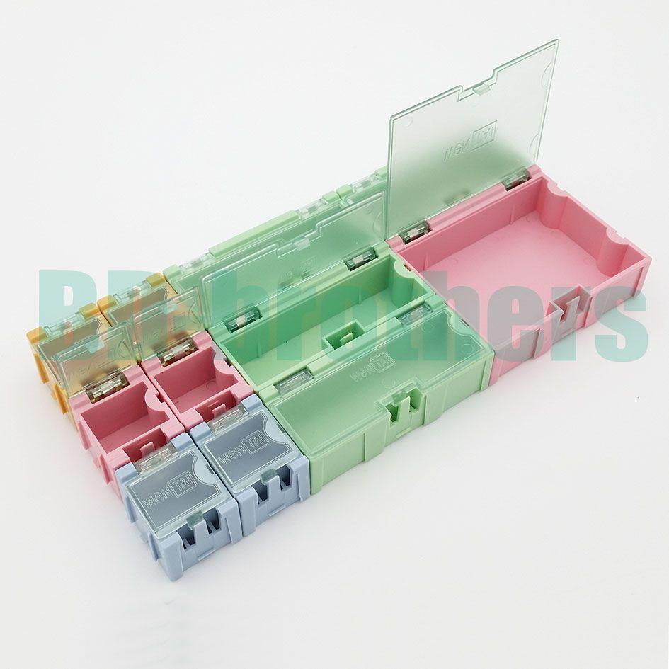 11 pezzi / set scatola di immagazzinaggio componente quadrato IC componenti scatole SMT SMD Wen tai scatole Kit / lotto