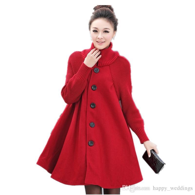 21b9a2f0a29 2019 Plus Size Woolen Coat Winter Coat Women Cloak Style Wool Jacket  Turtleneck Knitted Stitching Maxi Coats Long Jacket Parkas C2675 From  Happy weddings