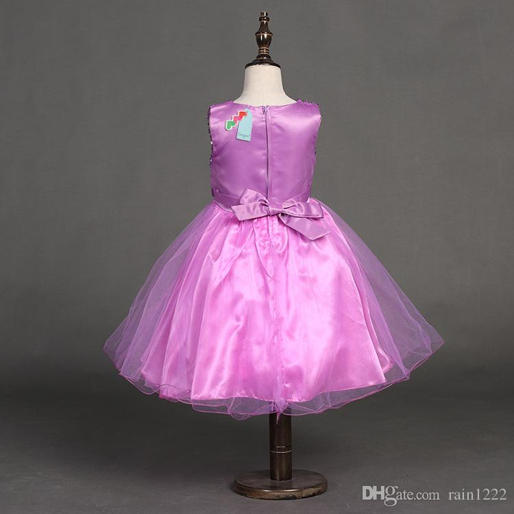 10 Styles New Girls Bow Formal Full Dress Princess Sequins Belted Special Occasion Dress Children Kids Ball Gown Pleated Dresses For 3-12T