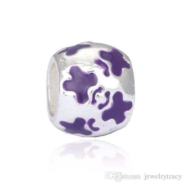 Armbänder Perlen Mix 5 Farben Legierung Kristall Emaille Charm Beads für Pandora Style Kreuz Perlen Charme Armbänder Freies Verschiffen