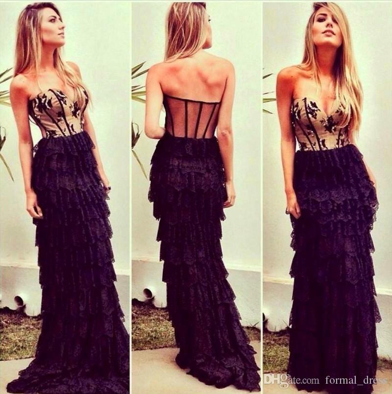 2016 Charming Black Tiered Lace Prom Dress Sweetheart Sleeveless Sheer Back Tiered Evening Dress Floor Lenth Party Dress Gown robe de soire