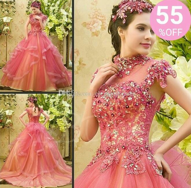 56d9463c4b 2018 Modest Quinceanera Dresses High Neck Cascading Ruffles Customized Applique  Beaded Sheer Long Pink Ball Gown Pageant Party Dress Big Quinceanera Dresses  ...