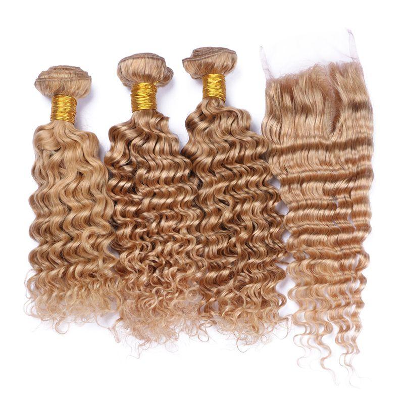 Honigblond # 27 tiefes lockiges Haar spinnt mit Spitze-Schließung 9A brasilianisches Menschenhaar Tiefes Wellen-Menschenhaar 3 Bündel mit Spitze-Schließung