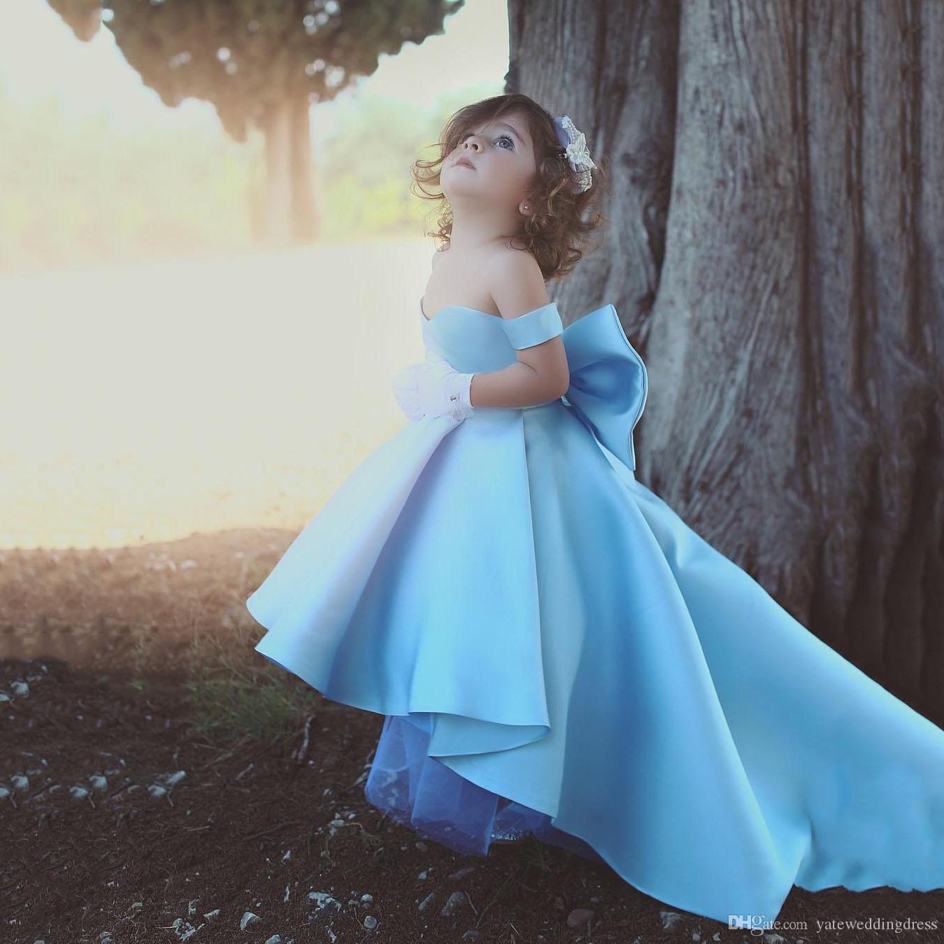 eace9245f042 Light Sky Blue Short Lovely Flower Girls Dresses Off Shoulder Hi Lo ...