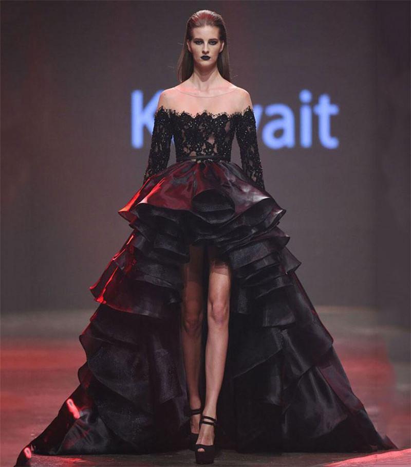 Negro gótico Alto Bajo ver a través de los vestidos de noche 2019 de pista de manga larga de encaje de Elie Saab de la vendimia del tamaño extra grande árabes kaftan Dubai vestidos de baile
