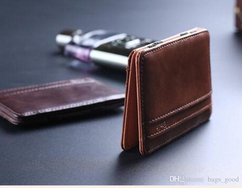 Neue Herren Geldscheinklammer Leder Brieftasche Clamp Brieftaschen Magic Wallet Kartenhalter Geld Mit Karte Halten