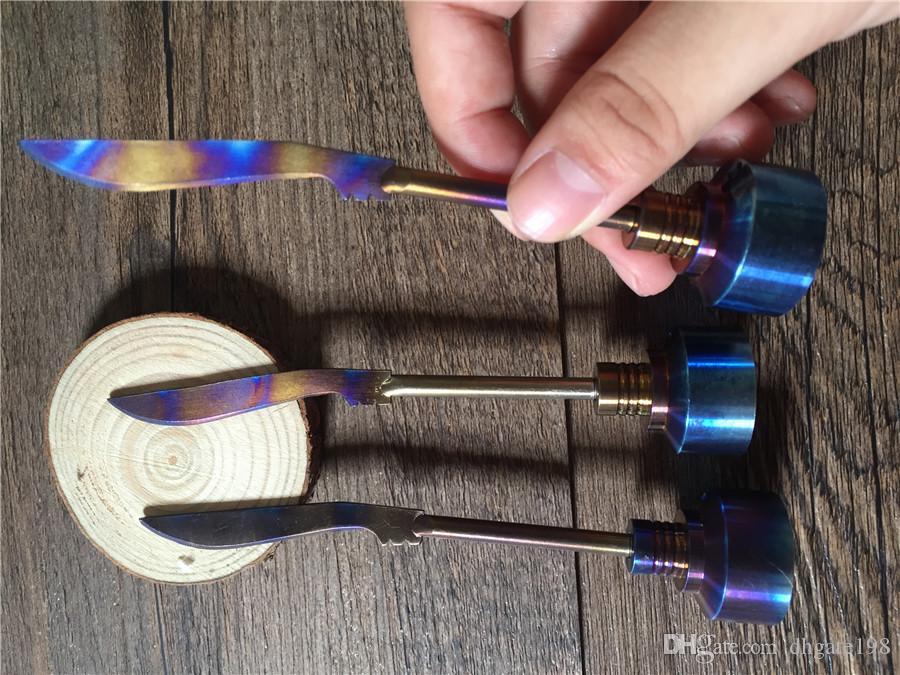 Rainbow Titanium Carb Cap Ferramenta Domeless Titanium Ti Prego 14mm 18mm Titanium espada Dab Ferramenta com Tampa Do Carbono Dabber