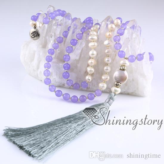 süßwasser perlenkette mala perle halskette 108 mala armband indische gebetsperlen meditation perlen perle schmuck online