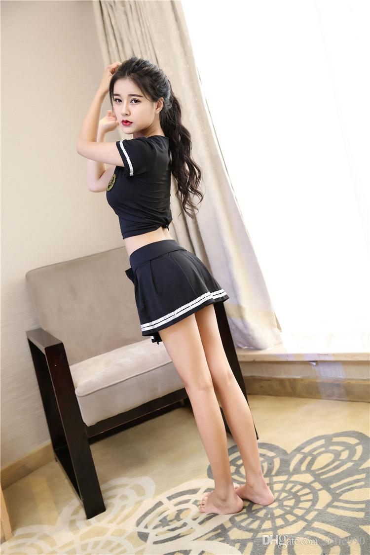 2018 hot role play games sexy student uniform set mini top for Hot student pics