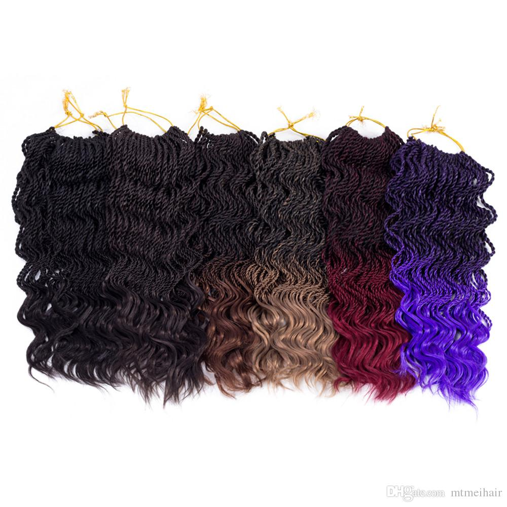 Mtmei Hair Ombre Crochet Braids one pack, 35 strands/pack 14 inch ,curl Senegalese Twist Hair Synthetic Braiding Hair extensions