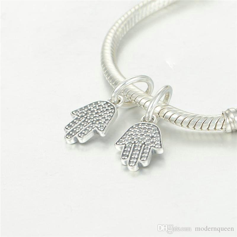 Hand harmas dangles charms S925 sterling silver fits DIY bracelet and necklace 791307CZ