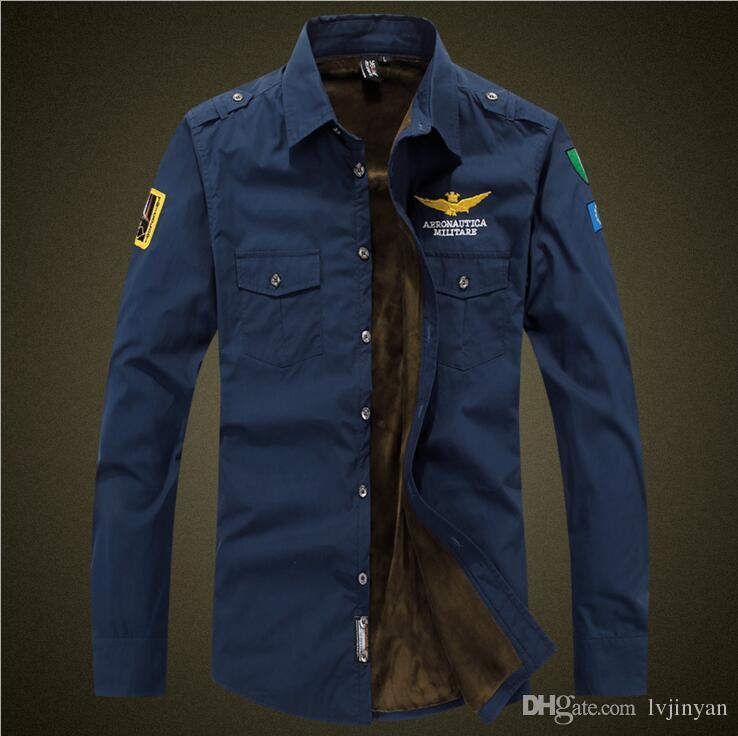 4effb5cb New Air Force One Fleece Thick Shirt Men Brand Cotton Military Enthusiasts  Embroidery MA1 Long Sleeve Warm Shirts Flight Uniform Men Shirts Militare  MA01 ...