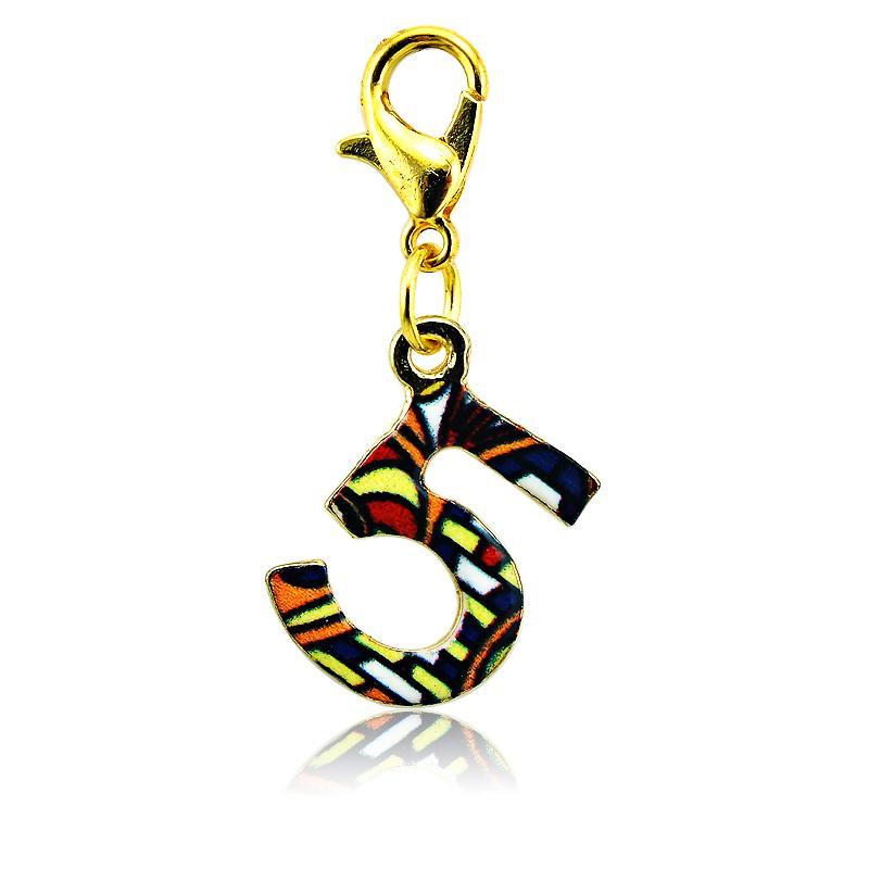 Fashion Floating Charms Vergoldet Multicolor Nummer 5 Karabinerverschluss Legierung Charms DIY Schmuck Zubehör Mix Auftrag