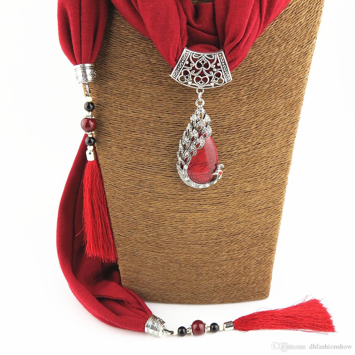Silk Scarf Necklace Peacock Pendant Neckerchief Scarves Women Printed Silk Muffler 2017 New Designer Scarfs Jewelry Bijoux