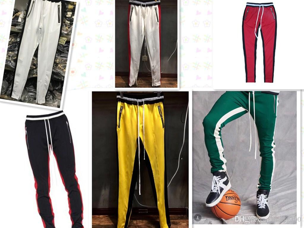07274269bc High quality New Fear Of God Fifth Collection FOG Justin Bieber side zipper  casual sweatpants men hiphop jogger pants Green Colour trousers