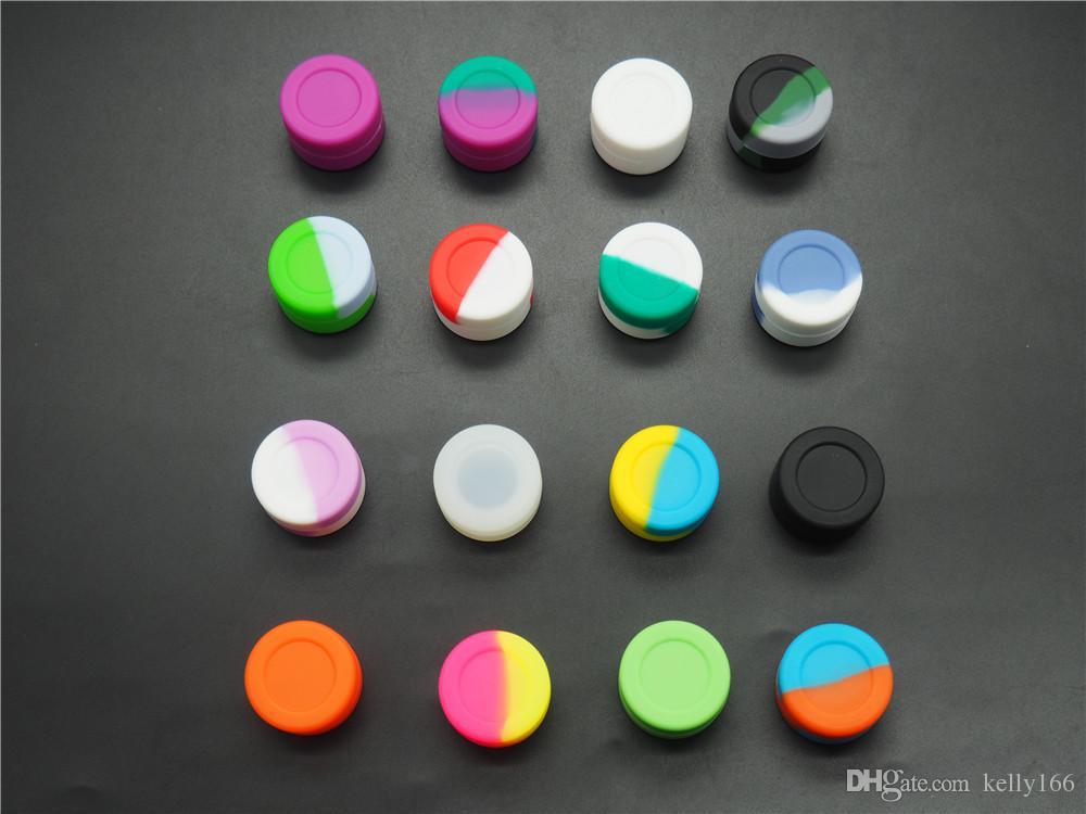 Le moins cher de tous! Récipients de cire de Dab de pot de silicone anti-adhésif ronds de couleur riche de 3mL pour le récipient de silicone de casseroles de silicone de cire